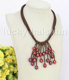 """16"""" 5row 13mm Baroque wine red freshwater pearls coffee leather necklace j11224"""