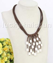 """16"""" 5row 13mm Baroque white freshwater pearls coffee leather necklace j11226"""
