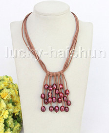 """16"""" 5row 13mm Baroque wine red freshwater pearls khaki leather necklace j11230"""