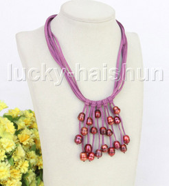 """16"""" 5row 13mm Baroque wine red freshwater pearls purple leather necklace j11233"""