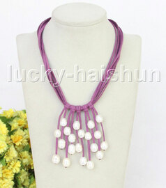 """16"""" 5row 13mm Baroque white freshwater pearls purple leather necklace j11235"""