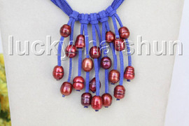 """16"""" 5row 13mm Baroque wine red freshwater pearls blue leather necklace j11239"""