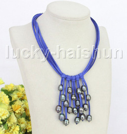 """16"""" 5row 13mm Baroque black freshwater pearls blue leather necklace j11240"""