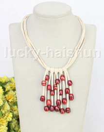"""16"""" 5row 13mm Baroque wine red freshwater pearls white leather necklace j11243"""