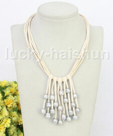 """16"""" 5row 13mm Baroque gray freshwater pearls white leather necklace j11245"""