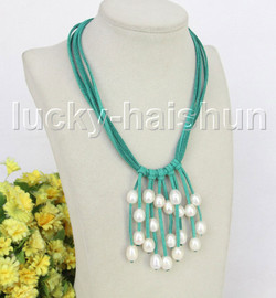 """16"""" 5row 13mm Baroque white freshwater pearls green leather necklace j11248"""