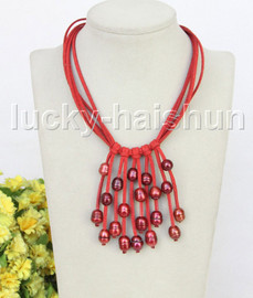 """16"""" 5row 13mm Baroque black freshwater pearls red leather necklace j11253"""