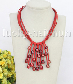 """16"""" 5row 13mm Baroque wine red freshwater pearls red leather necklace j11254"""