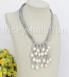 """16"""" 5row 13mm Baroque white freshwater pearls gray leather necklace j11260"""