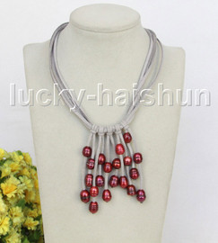 """16"""" 5row 13mm Baroque wine red freshwater pearls gray leather necklace j11263"""