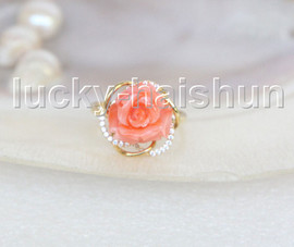 NEW Genuine 15mm carved rose pink coral Rings 14K solid gold 8# j11275A818
