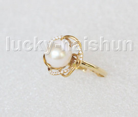 NEW Genuine 15mm round white pearls Rings 14K solid gold 8# j11276A818