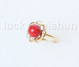 AAA NEW 15mm round red coral Rings 14K solid gold 8# j11279A818