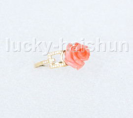 NEW Authentic 12mm carved rose pink coral Rings 14K solid gold 8# j11280A744