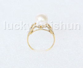 AAA Genuine 9.5mm round white pearls Rings 14K solid gold 8# j11281A744