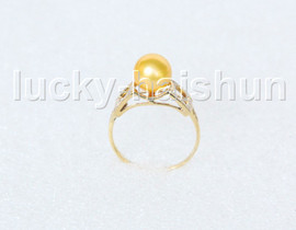 AAA 8.5mm round yellow golden south sea pearls Rings 14K solid gold 8# j11282A744