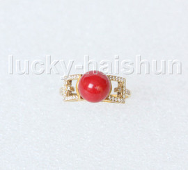 AAA Amazing 9mm round red coral Rings 14K solid gold 8# j11283A744