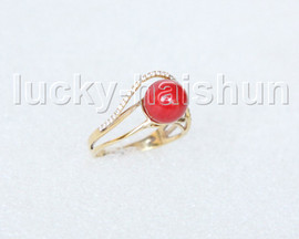 AAA wonderful 9mm round red coral Rings 14K solid gold 8# j11286A900