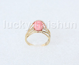 AAA NEW Amazing round pink coral Rings 14K solid gold 8# j11287A900