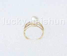 AAA Genuine 9.5mm round white pearls Rings 14K solid gold 8# j11288A900