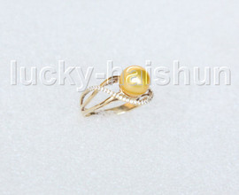 AAA stylish 8.5mm round yellow golden south sea pearls Rings 14K solid gold 8# j11289A900