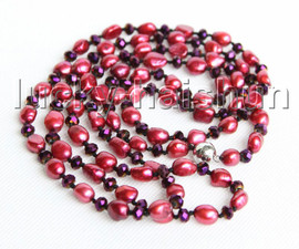 """Baroque 46"""" 10mm wine red freshwater pearls wine red crystal necklace j11297"""