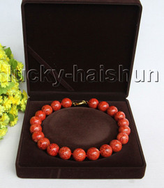 """AAA 18"""" 19mm natural round red sponge coral necklace j11302"""