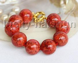 "AAA 8"" 19mm natural round red sponge coral bracelet j11303"