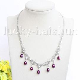 "15-18"" 10mm adjustable drop gem stone wine red freshwater pearls necklace 18KGP j11321"