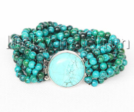 "genuine 8"" 10row 6mm round green chrysocolla Bracelet turquoise clasp j11388"