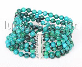 "genuine 8"" 6row 6mm round green chrysocolla Bracelet magnet clasp j11389"