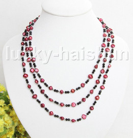 """Baroque 60"""" 8mm wine red freshwater pearls necklace j11444"""