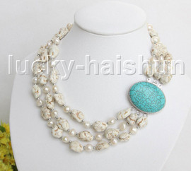 """17"""" 3row Natural baroque white pearls white turquoise necklace turquoise clasp j11455"""