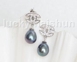 Drop Dangle Stud 10mm peacock black pearls Earrings Platinum Plated j11470