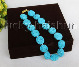 """AAA natural 19"""" 27*23mm Blue oval carved turquoise necklace j11483A120"""