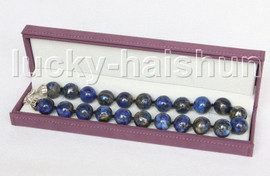 BIG RARE 100% NATURE ROUND LAPIS LAZULI NECKLACE 18MM 925 silver clasp j11549