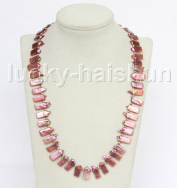 "length 21"" 15mm baroque oblong wine red freshwater pearls necklace 18KGP j11557"