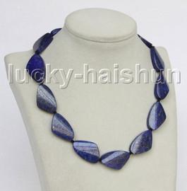 """Genuine 17"""" 19X30mm triangle lapis lazuli necklace j11560"""