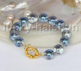 "natural 8"" 12mm round blue crystal bracelet gold plated clasp j11568"