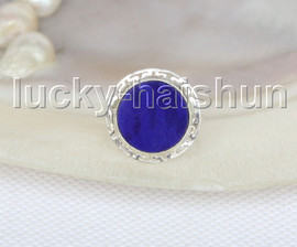 AAA 100% NATURAL 18MM COIN LAPIS LAZULI Rings 925 silver 8# J11575