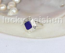 AAA 100% NATURAL 16X16MM LAPIS LAZULI Rings 925 silver 8# J11580