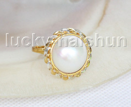 NEW AAA 20mm two-tone white South Sea Mabe Pearls Rings silver filled gold 8# j11581