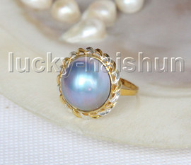 NEW AAA 20mm two-tone blue South Sea Mabe Pearls Rings silver filled gold 8# j11585