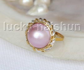 NEW AAA 20mm two-tone pink South Sea Mabe Pearls Rings silver filled gold 8# j11587