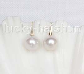 NEW AAA 14mm perfect round white South Sea pearls Earrings 14K Solid gold j11593