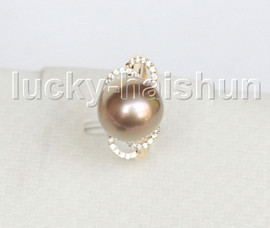 NEW AAA natural bowknot 12mm round peacock purple South Sea pearls Rings 14K 7# j11596