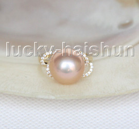 NEW AAA natural bowknot 13mm round pink golden South Sea pearls Rings 14K 7# j11597