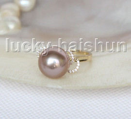 NEW AAA natural bowknot 12mm round purple South Sea pearls Rings 14K 7# j11598