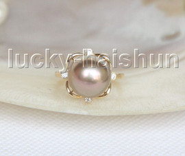 NEW AAA natural 12mm round purple-green South Sea pearls Rings 14K 7# j11599