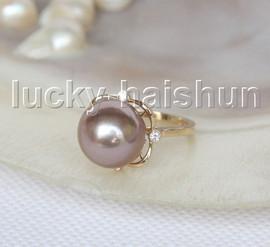 NEW AAA natural 13mm round dark purple South Sea pearls Rings 14K 7# j11600